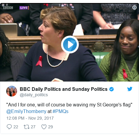 "Twitter post by @daily_politics: ""And I for one, will of course be waving my St George's flag"" @EmilyThornberry at #PMQs"