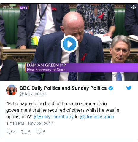 "Twitter post by @daily_politics: ""Is he happy to be held to the same standards in government that he required of others whilst he was in opposition?"" @EmilyThornberry to @DamianGreen"