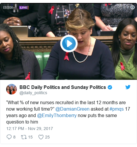 "Twitter post by @daily_politics: ""What % of new nurses recruited in the last 12 months are now working full time?"" @DamianGreen asked at #pmqs 17 years ago and @EmilyThornberry now puts the same question to him"