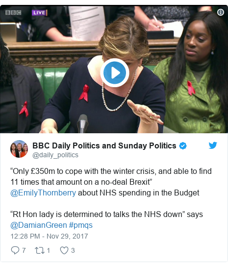 "Twitter post by @daily_politics: ""Only £350m to cope with the winter crisis, and able to find 11 times that amount on a no-deal Brexit"" @EmilyThornberry about NHS spending in the Budget""Rt Hon lady is determined to talks the NHS down"" says @DamianGreen  #pmqs"