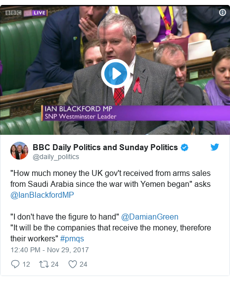 "Twitter post by @daily_politics: ""How much money the UK gov't received from arms sales from Saudi Arabia since the war with Yemen began"" asks @IanBlackfordMP ""I don't have the figure to hand"" @DamianGreen ""It will be the companies that receive the money, therefore their workers"" #pmqs"