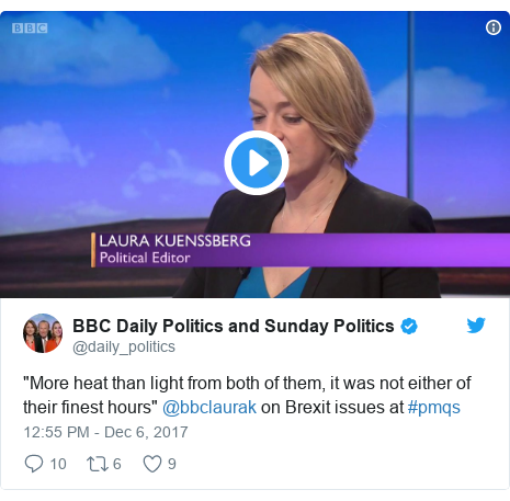 "Twitter post by @daily_politics: ""More heat than light from both of them, it was not either of their finest hours"" @bbclaurak on Brexit issues at #pmqs"