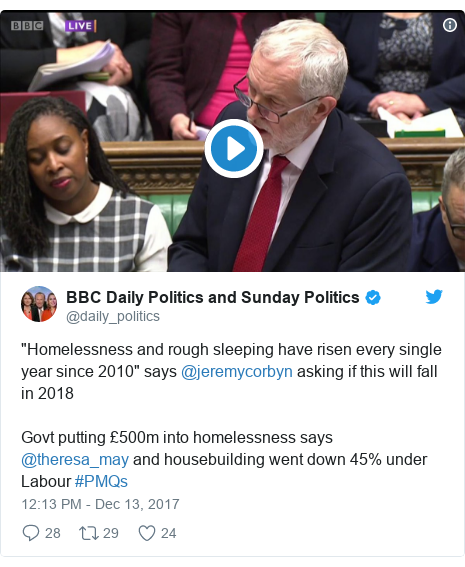"""Twitter post by @daily_politics: """"Homelessness and rough sleeping have risen every single year since 2010"""" says @jeremycorbyn asking if this will fall in 2018Govt putting £500m into homelessness says @theresa_may  and housebuilding went down 45% under Labour #PMQs"""