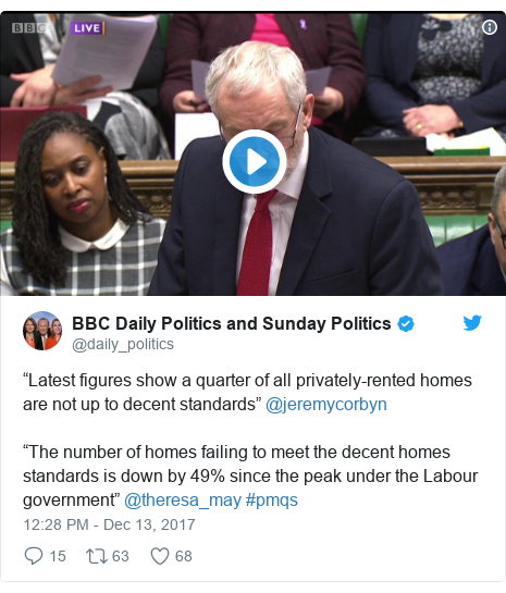 """Twitter post by @daily_politics: """"Latest figures show a quarter of all privately-rented homes are not up to decent standards"""" @jeremycorbyn""""The number of homes failing to meet the decent homes standards is down by 49% since the peak under the Labour government"""" @theresa_may #pmqs"""