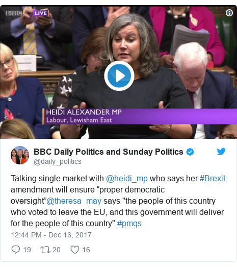 """Twitter post by @daily_politics: Talking single market with @heidi_mp who says her #Brexit amendment will ensure """"proper democratic oversight""""@theresa_may says """"the people of this country who voted to leave the EU, and this government will deliver for the people of this country"""" #pmqs"""