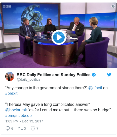"""Twitter post by @daily_politics: """"Any change in the government stance there?"""" @afneil on #brexit""""Theresa May gave a long complicated answer"""" @bbclaurak """"as far I could make out… there was no budge"""" #pmqs #bbcdp"""