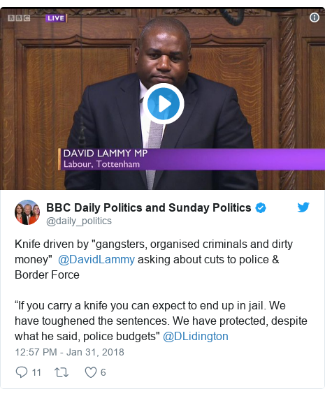 """Twitter post by @daily_politics: Knife driven by """"gangsters, organised criminals and dirty money""""  @DavidLammy asking about cuts to police & Border Force""""If you carry a knife you can expect to end up in jail. We have toughened the sentences. We have protected, despite what he said, police budgets"""" @DLidington"""