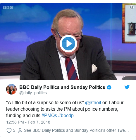 "Twitter post by @daily_politics: ""A little bit of a surprise to some of us"" @afneil on Labour leader choosing to asks the PM about police numbers, funding and cuts #PMQs #bbcdp"