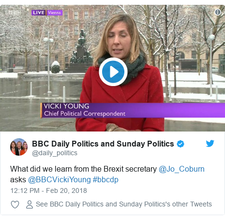 Twitter post by @daily_politics: What did we learn from the Brexit secretary @Jo_Coburn asks @BBCVickiYoung #bbcdp