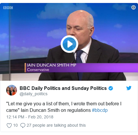 "Twitter post by @daily_politics: ""Let me give you a list of them, I wrote them out before I came"" Iain Duncan Smith on regulations #bbcdp"