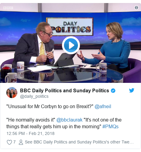 """Twitter post by @daily_politics: """"Unusual for Mr Corbyn to go on Brexit?"""" @afneil """"He normally avoids it"""" @bbclaurak """"It's not one of the things that really gets him up in the morning"""" #PMQs"""