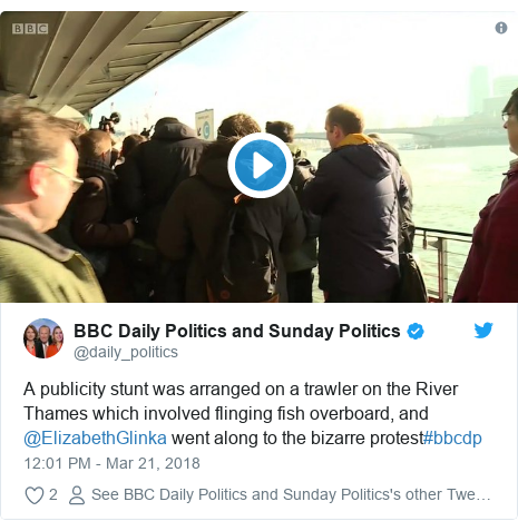 Twitter post by @daily_politics: A publicity stunt was arranged on a trawler on the River Thames which involved flinging fish overboard, and @ElizabethGlinka went along to the bizarre protest#bbcdp