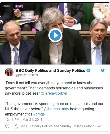 "Twitter post by @daily_politics: ""Does it not tell you everything you need to know about this government? That it demands households and businesses pay more to get less"" @jeremycorbyn""This government is spending more on our schools and our NHS than ever before"" @theresa_may before quoting employment figs #pmqs"