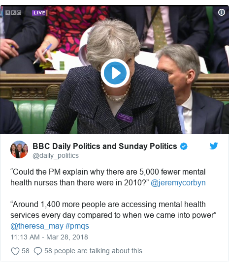 """Twitter post by @daily_politics: """"Could the PM explain why there are 5,000 fewer mental health nurses than there were in 2010?"""" @jeremycorbyn """"Around 1,400 more people are accessing mental health services every day compared to when we came into power"""" @theresa_may #pmqs"""