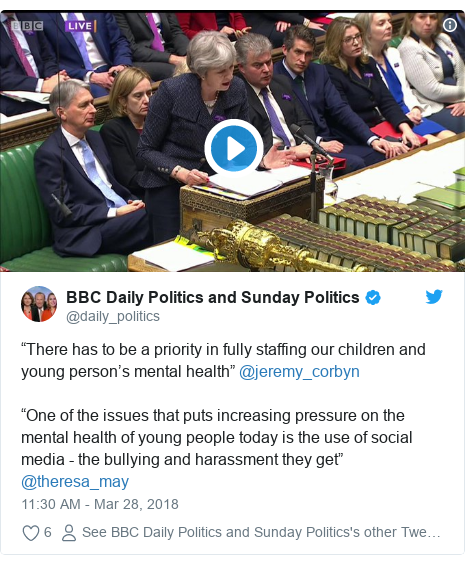 """Twitter post by @daily_politics: """"There has to be a priority in fully staffing our children and young person's mental health"""" @jeremy_corbyn""""One of the issues that puts increasing pressure on the mental health of young people today is the use of social media - the bullying and harassment they get"""" @theresa_may"""