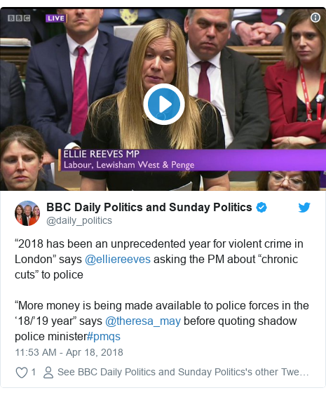 "Twitter post by @daily_politics: ""2018 has been an unprecedented year for violent crime in London"" says @elliereeves asking the PM about ""chronic cuts"" to police""More money is being made available to police forces in the '18/'19 year"" says @theresa_may before quoting shadow police minister#pmqs"