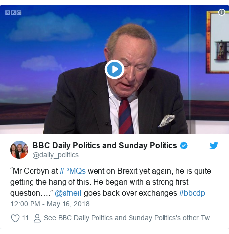"""Twitter post by @daily_politics: """"Mr Corbyn at #PMQs went on Brexit yet again, he is quite getting the hang of this. He began with a strong first question…."""" @afneil goes back over exchanges #bbcdp"""
