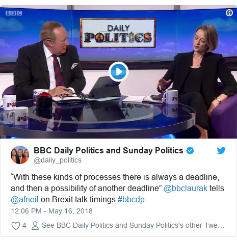"""Twitter post by @daily_politics: """"With these kinds of processes there is always a deadline, and then a possibility of another deadline"""" @bbclaurak tells @afneil on Brexit talk timings #bbcdp"""