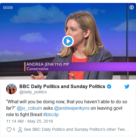 "Twitter post by @daily_politics: ""What will you be doing now, that you haven't able to do so far?"" @jo_coburn asks @andreajenkyns on leaving govt role to fight Brexit #bbcdp"