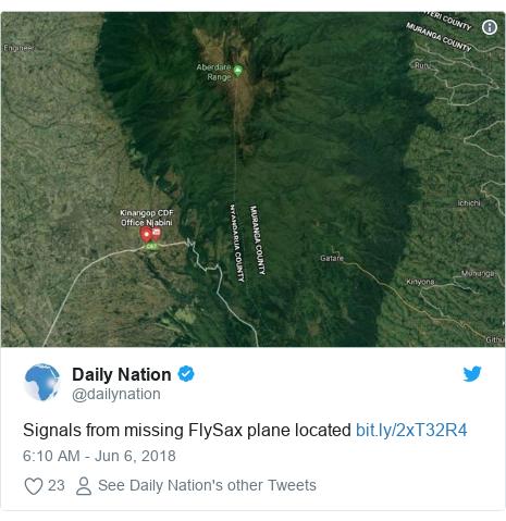 Ujumbe wa Twitter wa @dailynation: Signals from missing FlySax plane located