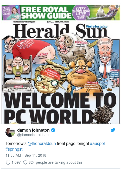 Twitter post by @damonheraldsun: Tomorrow's @theheraldsun front page tonight #auspol #springst