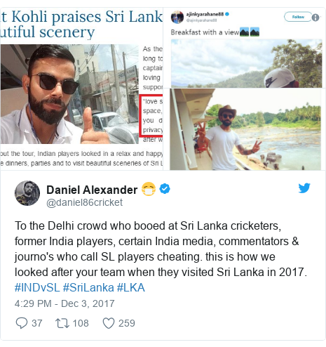 Twitter හි @daniel86cricket කළ පළකිරීම: To the Delhi crowd who booed at Sri Lanka cricketers, former India players, certain India media, commentators & journo's who call SL players cheating. this is how we looked after your team when they visited Sri Lanka in 2017. #INDvSL #SriLanka #LKA