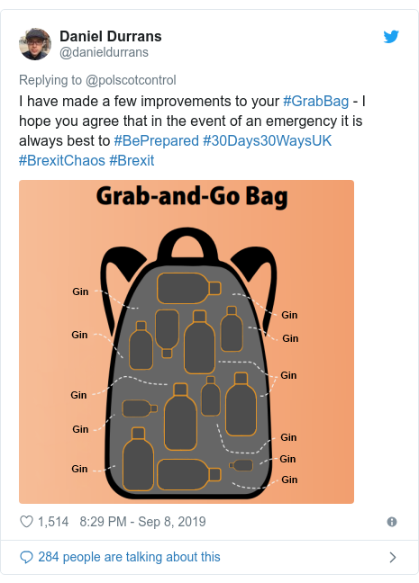 Twitter post by @danieldurrans: I have made a few improvements to your #GrabBag - I hope you agree that in the event of an emergency it is always best to #BePrepared #30Days30WaysUK #BrexitChaos #Brexit