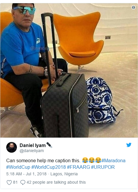Twitter post by @danieliyam: Can someone help me caption this. 😂😂😂#Maradona #WorldCup #WorldCup2018 #FRAARG #URUPOR