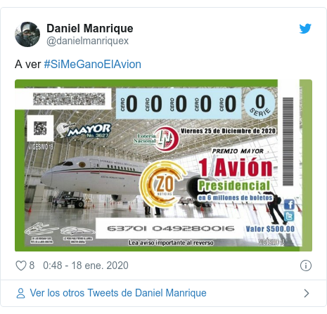Publicación de Twitter por @danielmanriquex: A ver #SiMeGanoElAvion