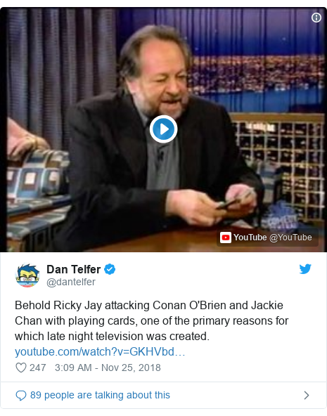 Twitter post by @dantelfer: Behold Ricky Jay attacking Conan O'Brien and Jackie Chan with playing cards, one of the primary reasons for which late night television was created.