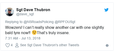 Twitter post by @dave_sgt: Wowzers! I can't really show another car with one slightly bald tyre now!! 😉That's truly insane.