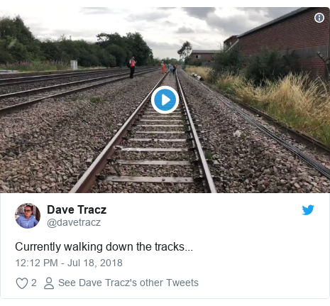 Twitter post by @davetracz: Currently walking down the tracks...