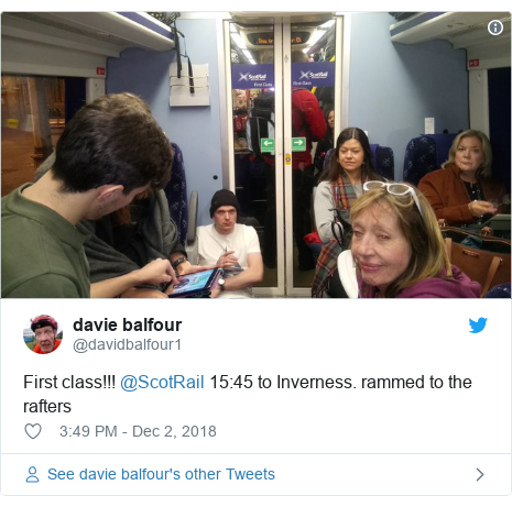 Twitter post by @davidbalfour1: First class!!! @ScotRail 15 45 to Inverness. rammed to the rafters
