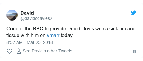 Twitter post by @davidcdavies2: Good of the BBC to provide David Davis with a sick bin and tissue with him on #marr today