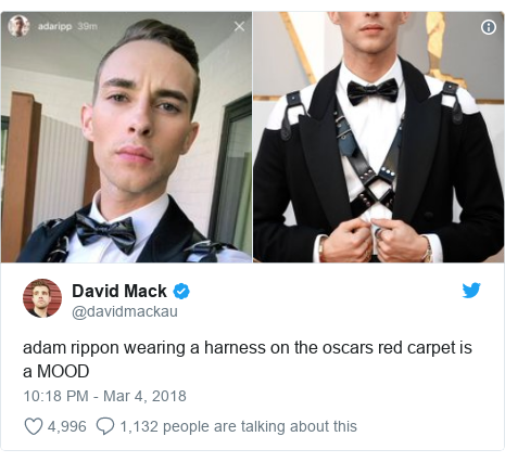 Twitter post by @davidmackau: adam rippon wearing a harness on the oscars red carpet is a MOOD