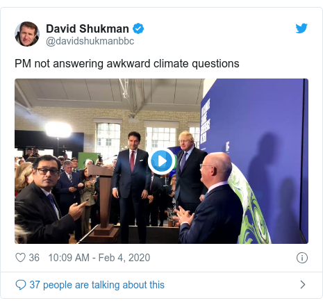 Twitter post by @davidshukmanbbc: PM not answering awkward climate questions