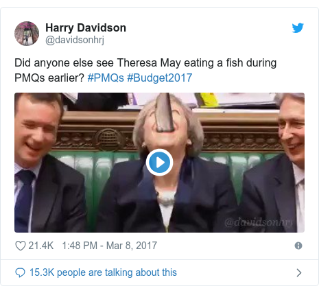 Twitter post by @davidsonhrj: Did anyone else see Theresa May eating a fish during PMQs earlier? #PMQs #Budget2017