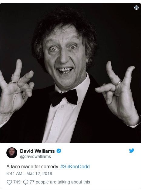 Twitter post by @davidwalliams: A face made for comedy. #SirKenDodd