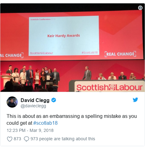 Twitter post by @davieclegg: This is about as an embarrassing a spelling mistake as you could get at #scotlab18