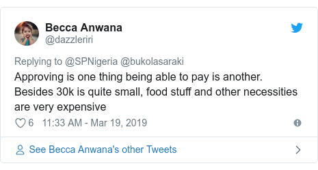 Twitter post by @dazzleriri: Approving is one thing being able to pay is another. Besides 30k is quite small, food stuff and other necessities are very expensive