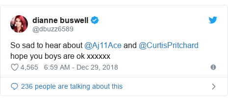 Twitter post by @dbuzz6589: So sad to hear about @Aj11Ace and @CurtisPritchard hope you boys are ok xxxxxx