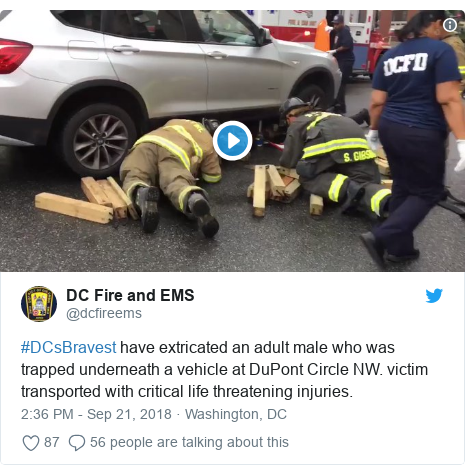 Twitter post by @dcfireems: #DCsBravest have extricated an adult male who was trapped underneath a vehicle at DuPont Circle NW. victim transported with critical life threatening injuries.