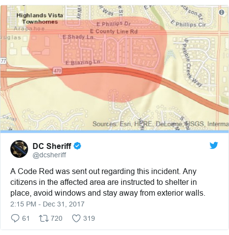 Twitter post by @dcsheriff: A Code Red was sent out regarding this incident.  Any citizens in the affected area are instructed to shelter in place, avoid windows and stay away from exterior walls.