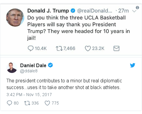 Twitter post by @ddale8: The president contributes to a minor but real diplomatic success...uses it to take another shot at black athletes.