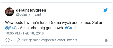 Neges Twitter gan @ddim_yn_sant: Waw oedd hwnna'n tens! Drama wych arall ar nos Sul ar @S4C - Actio arbennig gan bawb. #Craith