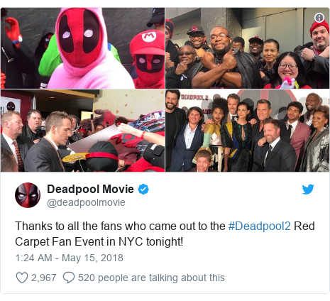 Twitter post by @deadpoolmovie: Thanks to all the fans who came out to the #Deadpool2 Red Carpet Fan Event in NYC tonight!