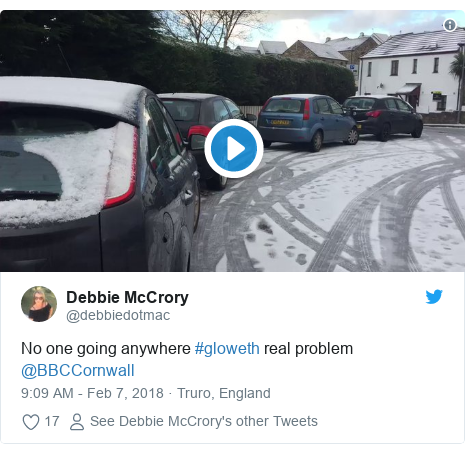 Twitter post by @debbiedotmac: No one going anywhere #gloweth real problem  @BBCCornwall