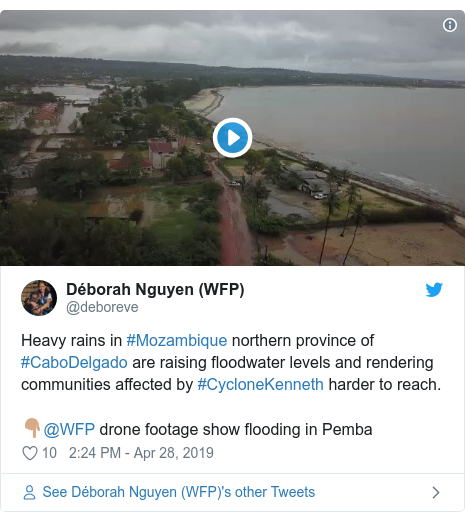 Twitter post by @deboreve: Heavy rains in #Mozambique northern province of #CaboDelgado are raising floodwater levels and rendering communities affected by #CycloneKenneth harder to reach. 👇🏽@WFP drone footage show flooding in Pemba