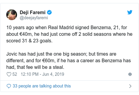 Twitter post by @deejayfaremi: 10 years ago when Real Madrid signed Benzema, 21, for about €40m, he had just come off 2 solid seasons where he scored 31 & 23 goals.Jovic has had just the one big season; but times are different, and for €60m, if he has a career as Benzema has had, that fee will be a steal.