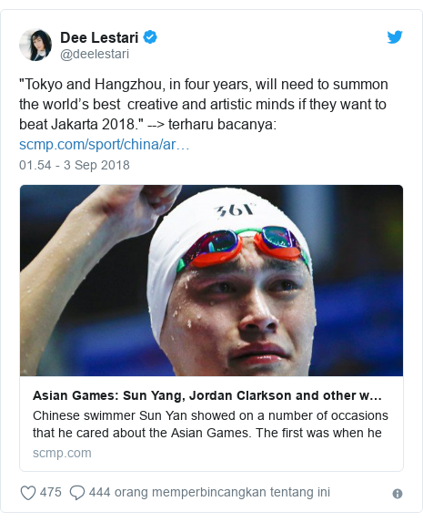 """Twitter pesan oleh @deelestari: """"Tokyo and Hangzhou, in four years, will need to summon the world's best  creative and artistic minds if they want to beat Jakarta 2018."""" --> terharu bacanya"""